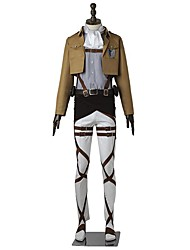 cheap -Inspired by Attack on Titan Levy Anime Cosplay Costumes Cosplay Suits Solid Colored Long Sleeves Top Pants Apron Belt More Accessories