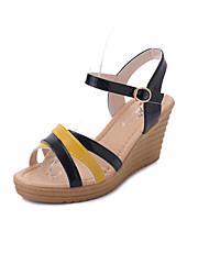 Women's Sandals Comfort PU Summer Casual Walking Comfort Buckle Flat Heel Black Beige Green 3in-3 3/4in