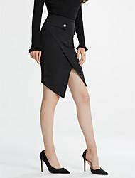 abordables -Mujer Tallas Grandes Lápices Faldas - Separado, Un Color