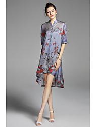Largo Vestito Da donna-Casual Stoffe orientali Ricamato Colletto alla coreana Sopra il ginocchio Mezze maniche Seta Primavera EstateA