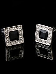 cheap -Shirt Cufflinks for Mens Brand Cuff Buttons Black Crystal Cuff links High Quality Cuffs Jewelry Wedding Gifts for Guests