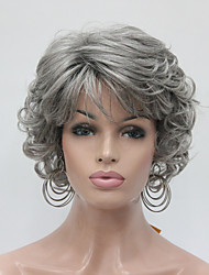 cheap -New Wavy Curly Medium Grey Short Synthetic Hair Full Women's  Wig For Everyday