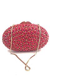 Mulher Bolsas Todas as Estações Couro Ecológico Metal Bolsa de Mão Cristal / Strass Flor para Casamento Festa/Eventos Formal Vermelho