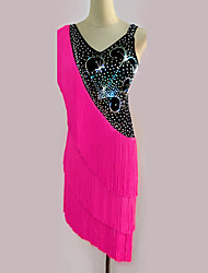 cheap -Latin Dance Dresses Women's Performance Spandex Tassel Crystals/Rhinestones 1 Piece Sleeveless High