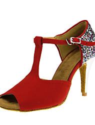 Latin Salsa Tango Dance Shoes Flocking Sequin Ballroom Dancing Shoes Indoor Red Women's Dance Shoes Customizable