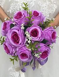 Fleurs de mariage Rond Roses Bouquets Cérémonie de mariage Satin Env.25cm