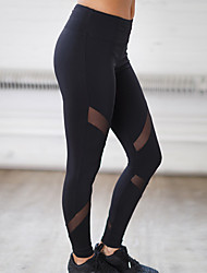 Women's Polyester Medium Solid Color Cross - spliced Legging