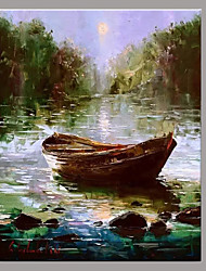 cheap -Hand-Painted Landscape Horizontal, Mediterranean European Style Canvas Oil Painting Home Decoration One Panel