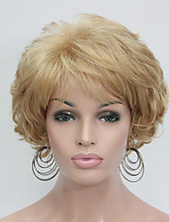 New Wavy Curly Golden Blonde Short Synthetic Hair Full Women's Thick  Wig For Everyday