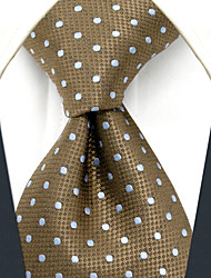 cheap -YXL16 Handmade Men's Necktie Brown White Dots 100% Silk Business Fashion Wedding For Men