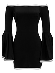 Women's Party Club Sexy Simple Street chic Fashion Hin Thin Bodycon DressColor Block Boat Neck Mini Long Flare Sleeve Spring Fall High Rise