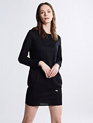 Damen Etuikleid Kleid-Lässig/Alltäglich Einfach / Street Schick Solide Rundhalsausschnitt Mini Langarm Rosa / Rot / Schwarz / Grau