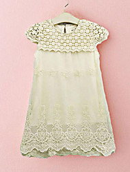 cheap -Girl's Daily Going out Patchwork Dress,Rayon Polyester Summer Short Sleeve Bow Lace Beige