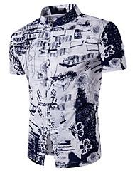 Men's Going out Casual/Daily Simple Active Summer Shirt,Print Shirt Collar Short Sleeve Linen Medium