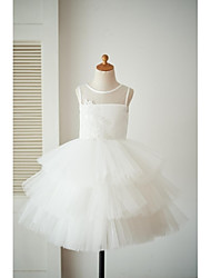 cheap -Princess Knee Length Flower Girl Dress - Satin Tulle Sleeveless Jewel Neck with Appliques Buttons by LAN TING BRIDE®