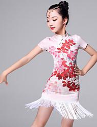 Latin Dance Dresses Kid's Performance Viscose Tassel(s) 2 Pieces Short Sleeve Dress Shorts