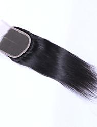 Недорогие -Прямой Классика 4x4 Закрытие Швейцарское кружево Натуральные волосы Бесплатный Часть Средняя часть 3 Часть Высокое качество Повседневные
