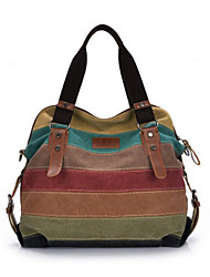 cheap -Women's Bags Canvas Shoulder Bag Ruffles for Outdoor Rainbow