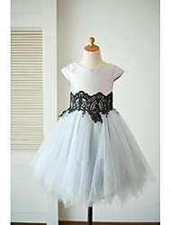 cheap -A-Line Knee Length Flower Girl Dress - Tulle Mikado Short Sleeves Scoop Neck with Lace by LAN TING BRIDE®
