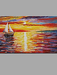 Hand Painted Oil Painting Sunset sea view Wall Art with Stretched Framed Ready to Hang