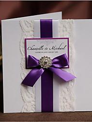 Side Fold Wedding Invitations 50-Invitation Cards Modern Style Pearl Paper Ribbon Bow Crystals/Rhinestones