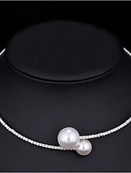 Women's Choker Necklaces Pearl AAA Cubic Zirconia Cubic Zirconia Basic White Jewelry ForWedding Special Occasion Engagement Gift Casual
