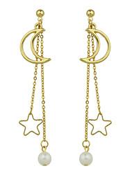 abordables -Pendientes colgantes Diseño Básico Crossover Estilo lindo Euramerican Legierung Forma de Estrella Joyas Para Diario Casual 1 par