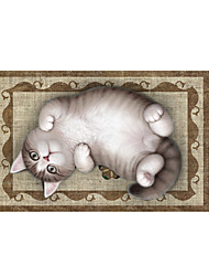 Lovely Cat 3D Stickers The Floor Tile Individuality Decorative Carpet Decal for The Bathroom Or The Living Room