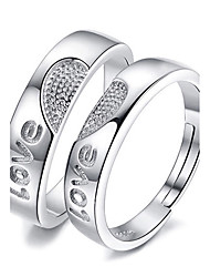cheap -Couple Rings Jewelry Love Platinum Plated Heart Jewelry For Wedding Party Special Occasion 1 pair