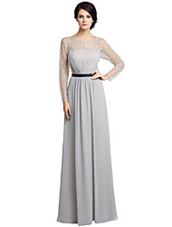 Sheath / Column Jewel Neck Floor Length Chiffon Mother of the Bride Dress with Beading