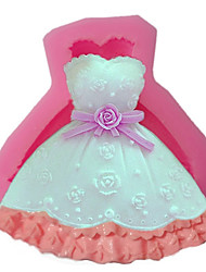 Random Color Beautiful Flowers Wedding Princess Dress Silicone Arts Clay Molds Fondant Cake Decoration Baking Mould Kitchen Accessories DIY