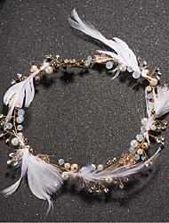 economico -stile elegante del copricapo dei fiori della lega della piuma del rhinestone della perla d'imitazione