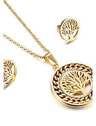 Women's Jewelry Set Friendship Fashion Classic Stainless Steel Tree of Life 1 Necklace 1 Pair of Earrings ForWedding Party Anniversary