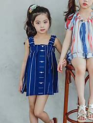Menina de Vestido Riscas Treliça Verão Algodão Sem Manga