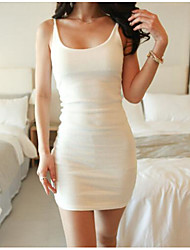 cheap -Women's Daily Casual Bodycon Dress,Solid Strap Above Knee Sleeveless Cotton Others Summer Mid Rise Stretchy Medium