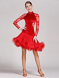 cheap -Latin Dance Dresses Women's Performance Lace Velvet Ruched Splicing 1 Piece Long Sleeve Natural Dress