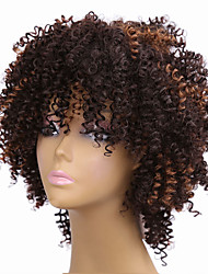 cheap -Synthetic Hair Wigs Afro Curly African American Wig Highlighted/Balayage Hair Carnival Wig Halloween Wig Natural Wigs Medium Brown