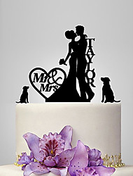 cheap -Cake Topper Garden Theme Classic Theme Rustic Theme Classic Couple Acrylic Wedding Anniversary Bridal Shower With OPP