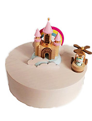cheap -Jeancard Music Box Wood Circular Castle Carriage Rotating Gift Unisex Gift