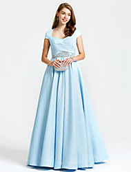 A-Line Queen Anne Floor Length Satin Formal Evening Dress with Beading Pockets Pleats by TS Couture®