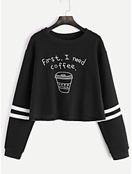 Women's Casual/Daily Sweatshirt Letter Print Round Neck strenchy Cotton Long Sleeve