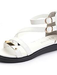 Dámské Sandály Pohodlné PU Jaro Léto Ležérní Šaty Pohodlné Přezky Plochá podrážka Bílá Černá Méně než 2.5 cm