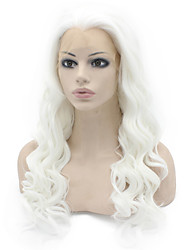 White Color Synthetic Wigs Lace Front Loose Wave Hair Heat Resistant Fiber Hair Wig for Woman