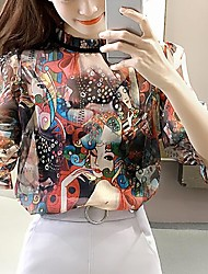 Women's Casual/Daily Simple Cute Spring Summer Blouse,Print Crew Neck ½ Length Sleeve Polyester Medium