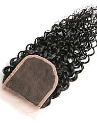 cheap -Classic Kinky Curly 4x4 Closure Swiss Lace Human Hair Free Part Middle Part 3 Part High Quality Daily