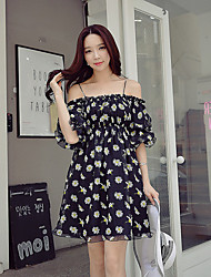 DABUWAWA Women's Going out Beach Holiday Vintage Street chic Sophisticated Sheath Little Black Chiffon DressFloral Color Block Strap Above Knee