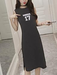 Ample Robe Femme Sortie Décontracté / Quotidien simple Mignon,Imprimé Col Ras du Cou Midi Sans Manches Polyester Printemps EtéTaille