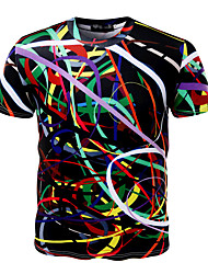 cheap -Men's Sports Active / Exaggerated Plus Size Cotton Slim T-shirt - Multi Color Print Round Neck