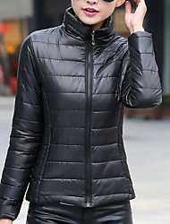 Women's Short Padded Coat,Simple Casual/Daily Solid-Cotton Polypropylene Long Sleeve Stand