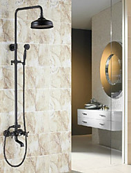 Antique Centerset Rain Shower with  Ceramic Valve Two Handles Three Holes for  Oil-rubbed Bronze , Shower Faucet